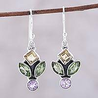 Multi-gemstone dangle earrings, 'Sparkling Unity' - Multi-Gemstone Dangle Earrings from India
