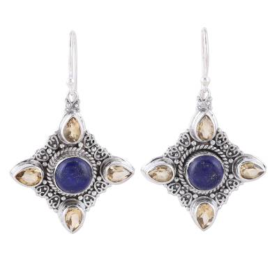 Lapis Lazuli and Citrine Dangle Earrings from India