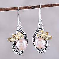Cultured pearl and citrine dangle earrings, 'Eternal Essence in Peach' - Peach Cultured Pearl and Citrine Dangle Earrings from India