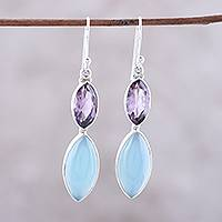 Amethyst and chalcedony dangle earrings, 'Luxurious Glow' - Sterling Silver Blue Chalcedony Amethyst Dangle Earrings