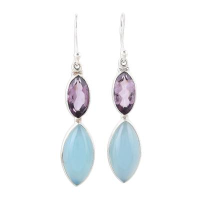 Sterling Silver Blue Chalcedony Amethyst Dangle Earrings