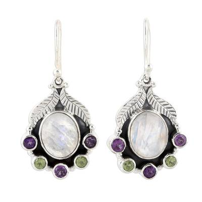 Rainbow Moonstone Peridot and Amethyst Dangle Earrings