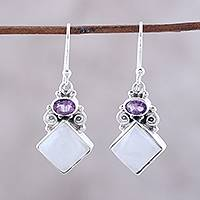 Rainbow moonstone and amethyst dangle earrings, 'Cloud Fragments' - Sterling Silver Rainbow Moonstone Amethyst Dangle Earrings