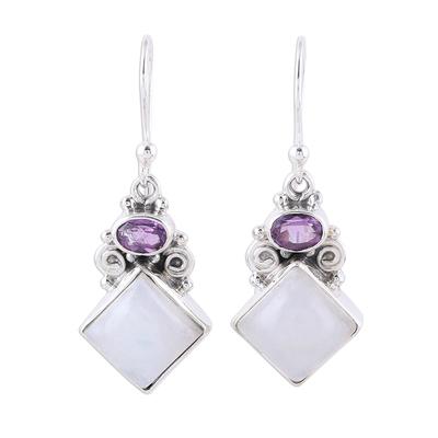 Sterling Silver Rainbow Moonstone Amethyst Dangle Earrings