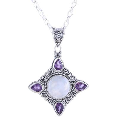 Amethyst and Rainbow Moonstone Silver Pendant Necklace