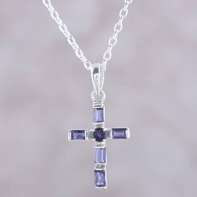 Iolite pendant necklace, 'Kolkata Cross' - Iolite and Sterling Silver Cross Pendant Necklace from India