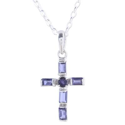Iolite and Sterling Silver Cross Pendant Necklace from India