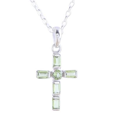 Sterling Silver and Peridot Cross Pendant Necklace