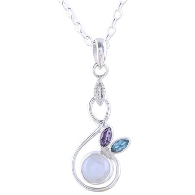 Rainbow Moonstone Blue Topaz Amethyst Pendant Necklace