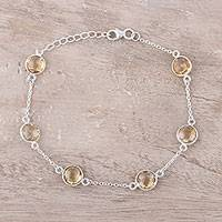 Citrine station bracelet, 'Sunshine Drops' - Sterling Silver Chain and Yellow Citrine Station Bracelet