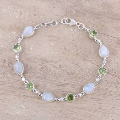 Rainbow moonstone and peridot link bracelet, Misty Forest