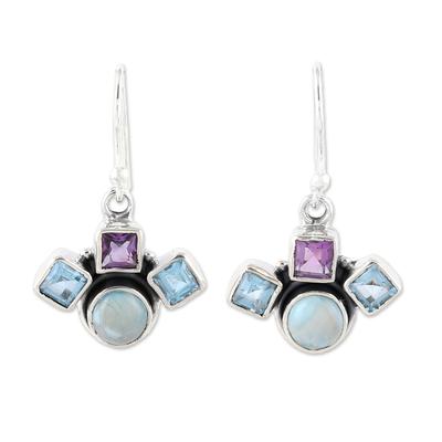 Blue Topaz Amethyst and Larimar Silver Dangle Earrings