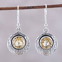 Citrine dangle earrings, 'Lemon Orbs' - Sterling Silver and Yellow Citrine Round Dangle Earrings