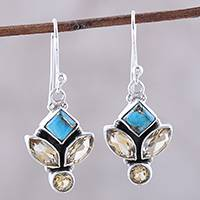 Citrine dangle earrings, 'Sparkling Unity' - Citrine and Composite Turquoise Dangle Earrings from India