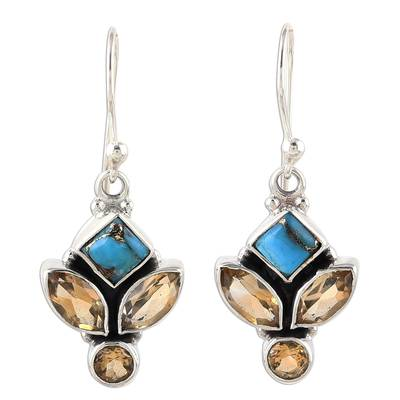 Citrine and Composite Turquoise Dangle Earrings from India