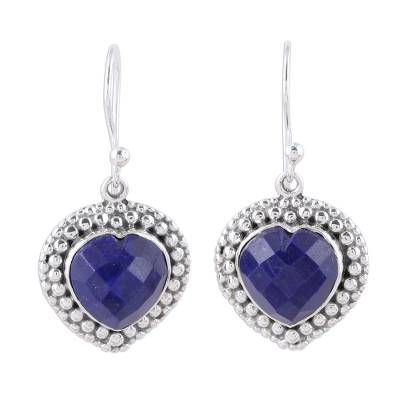 Blue Lapis Lazuli and Sterling Silver Heart Dangle Earrings