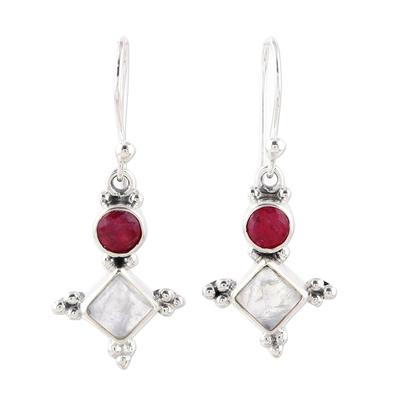 Pink Agate and Rainbow Moonstone Star Dangle Earrings