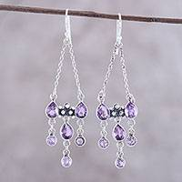 Amethyst chandelier earrings, 'Glittering Dance' - Sterling Silver and Purple Amethyst Chandelier Earrings