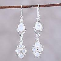 Rainbow moonstone dangle earrings, 'Misty Beauty' - Sterling Silver Rainbow Moonstone Iridescent Dangle Earrings