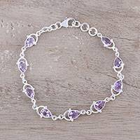 Amethyst link bracelet, 'Teardrop Tendrils' - Sterling Silver and Purple Faceted Amethyst Link Bracelet