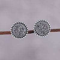 Drusy stud earrings, 'Round Grey' - Sterling Silver and Grey Drusy Round Stud Earrings