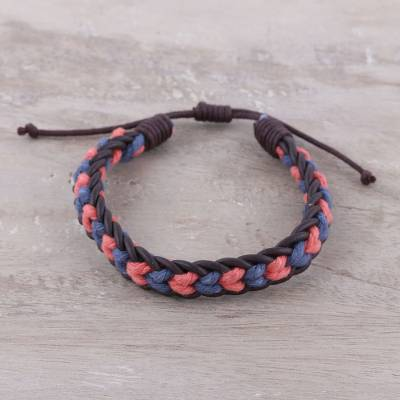 Men's leather and cotton braided bracelet, 'Celebration Braid' - Men's Blue and Coral Cotton and Leather Braided Bracelet