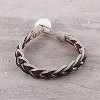 Men's leather braided bracelet, 'Earthy Combo' - Brown Leather Coconut Fiber Cotton and Bone Braided Bracelet