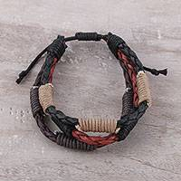 Men's leather and cotton wristband bracelet, 'Triple Power' - Men's Leather and Cotton Cord Adjustable Braided Bracelet