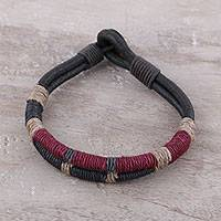 Men's leather and coconut coir bracelet, 'Rope Inspiration' - Men's Coconut Fiber Leather and Cotton Cord Bracelet
