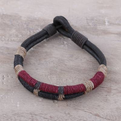 Mens leather and coconut coir cord bracelet, Rope Inspiration