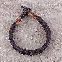 Men's leather wristband bracelet, 'Two-Tone Braid' - Brown and Black Leather Cotton Braided Wristband Bracelet