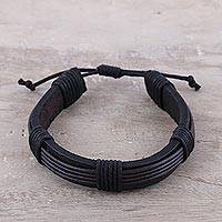 Men's leather wristband bracelet, 'Mysterious River' - Men's Black Leather and Cotton Cord Wristband Bracelet
