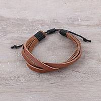 Men's leather and cotton wristband bracelet, 'Interlaced Style' - Men's Brown and Black Soft Leather Wristband Bracelet