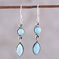 Larimar dangle earrings, 'Sky Bliss' - Natural Larimar Dangle Earrings from Thailand
