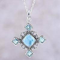 Larimar and blue topaz pendant necklace, 'Dazzling Sky' - Larimar and Faceted Blue Topaz Pendant Necklace from India