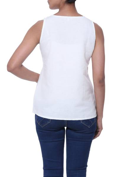 Sleeveless linen blend blouse, 'Ivory Whisper' - Sleeveless Cotton and Linen Blend Blouse