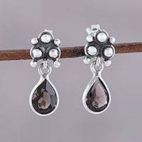 Smoky quartz dangle earrings, 'Trinity Glitter' - Sterling Silver and Smoky Quartz Dotted Dangle Earrings