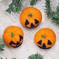 Wool home accents, 'Delightful Jack-o-Lanterns' (set of 3) - Handmade Wool Jack-o-Lantern Home Accents (Set of 3)