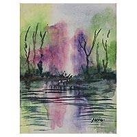 'Fantasy' - Pond Scene Watercolor Painting on Handmade Paper
