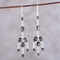 Smoky quartz chandelier earrings, 'Leafy Adornment' - Sterling Silver and Smoky Quartz Chandelier Earrings