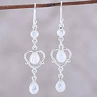 Rainbow moonstone dangle earrings, 'Iridescent Rain' - Sterling Silver and Rainbow Moonstone Dangle Earrings