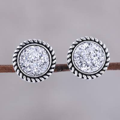 Drusy quartz stud earrings, 'Round Sparkle' - Sterling Silver Round White Drusy Quartz Stud Earrings