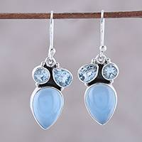 Blue topaz and chalcedony dangle earrings, 'Natural Dazzle' - Sterling Silver Blue Topaz and Chalcedony Dangle Earrings