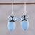 Blue topaz and chalcedony dangle earrings, 'Oceanic Dazzle' - Sterling Silver Blue Topaz and Chalcedony Dangle Earrings thumbail