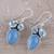 Blue topaz and chalcedony dangle earrings, 'Oceanic Dazzle' - Sterling Silver Blue Topaz and Chalcedony Dangle Earrings (image 2b) thumbail