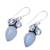 Blue topaz and chalcedony dangle earrings, 'Oceanic Dazzle' - Sterling Silver Blue Topaz and Chalcedony Dangle Earrings (image 2c) thumbail