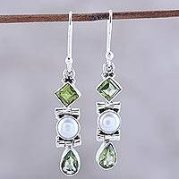 Peridot and cultured pearl dangle earrings, 'Classic Fusion' - Peridot and Cultured Pearl Dangle Earrings from India