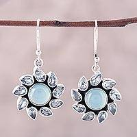 Blue topaz and chalcedony dangle earrings, 'Sky Glory' - Blue Topaz and Chalcedony Dangle Earrings from India