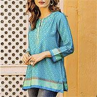 Embroidered tunic, 'Flowers of the Sea' - Embroidered Tunic in Azure and Aqua from India