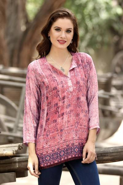 Embroidered tunic, 'Antique Petal' - Embroidered Tunic in Petal Pink and Cream from India
